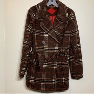 EUC Brown Plaid Wool Blend Double Breasted Coat